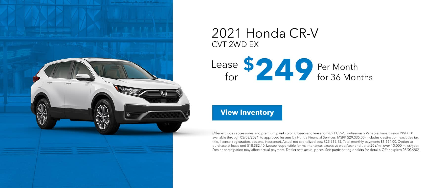 New 2021 Honda CR-V, Lease For $219