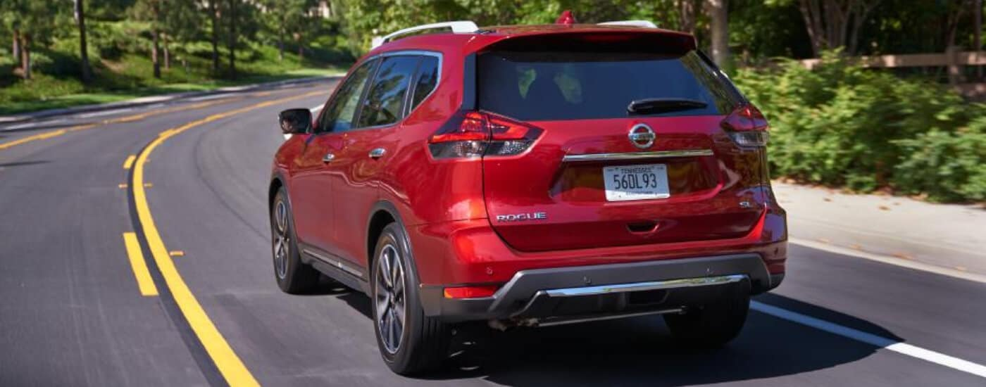rear view of red 2020 Nissan Rogue