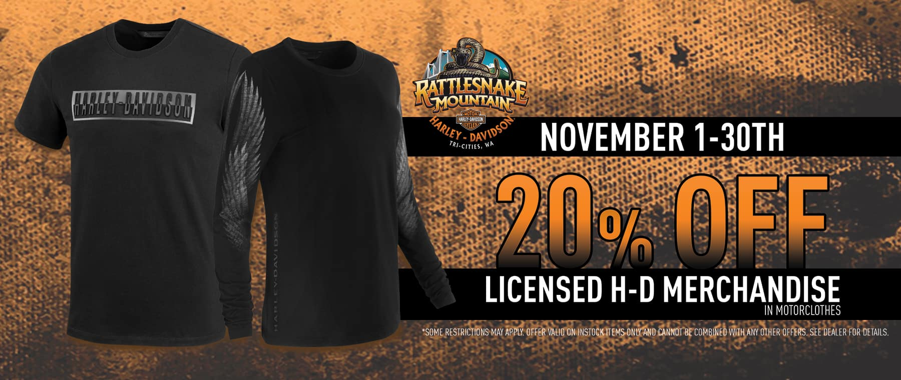 20% off licensed Harley-Davidson merchandise in motorclothes
