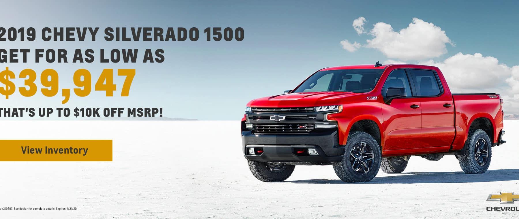 2019 Silverado 1500 offer!