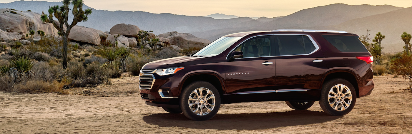 2020 Chevy Traverse Burgundy exterior parkked