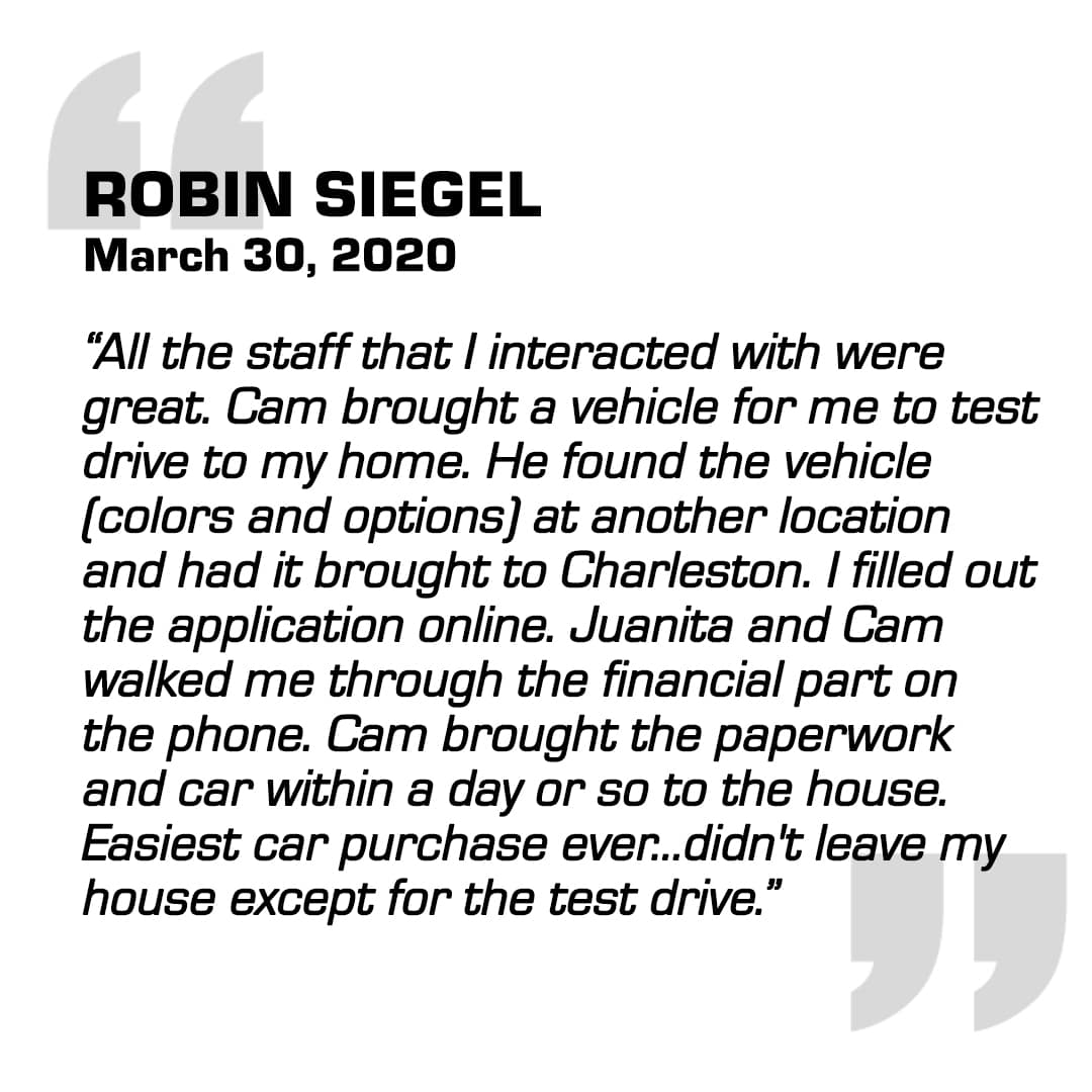Positive Customer Testimonial  about the no-contact, online experience.