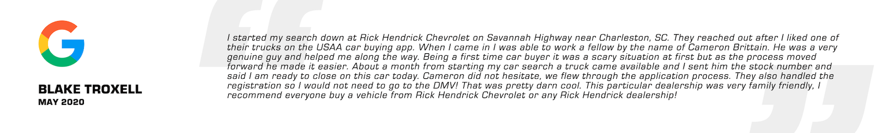 Great Review for Chevy Dealer