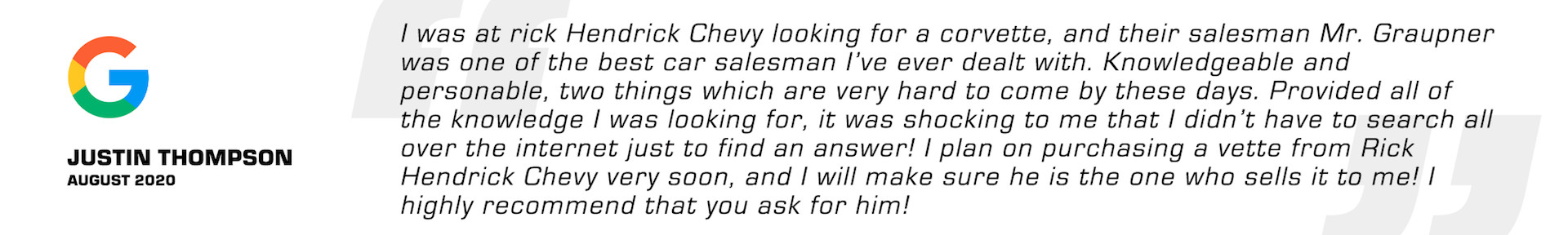Positive Reviews for Chevy Dealership[