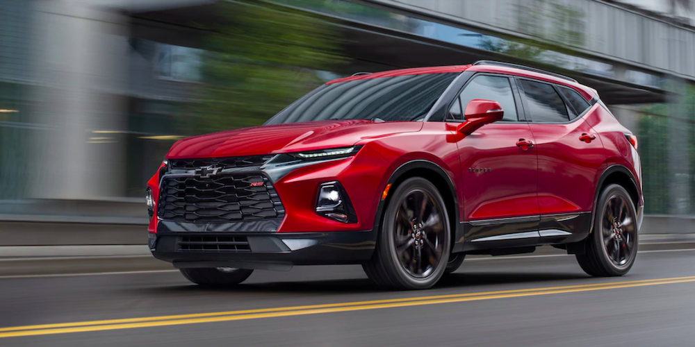 2020 chevy blazer red exterior driving down road