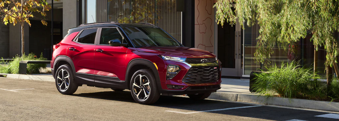 2021 chevy trailblazer red exterior parked outside