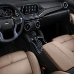 2021 chevy blazer brown leather interior front cabin view