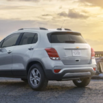 2021 chevy trax silver exterior parked on shore line