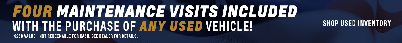 four maintenance visits included with purchase of any used vehicle