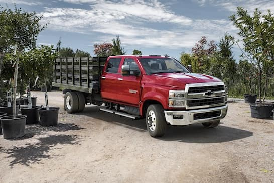 Red Work Truck with Cargo Bed
