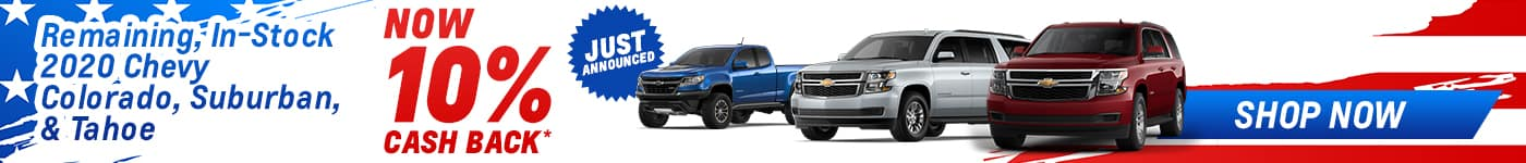 chevy colorado and suburban 10% cash back offer