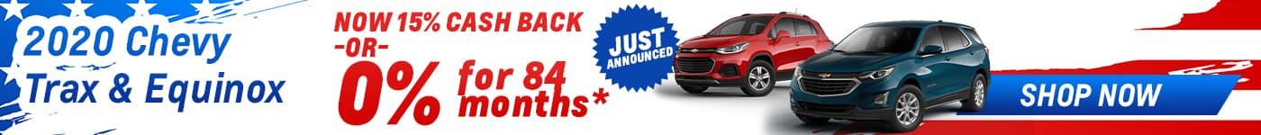 chevy trax and equinox 15% cash back july offer