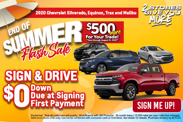Chevy Silverado 1500, Equinox, Trax and Malibu August Special