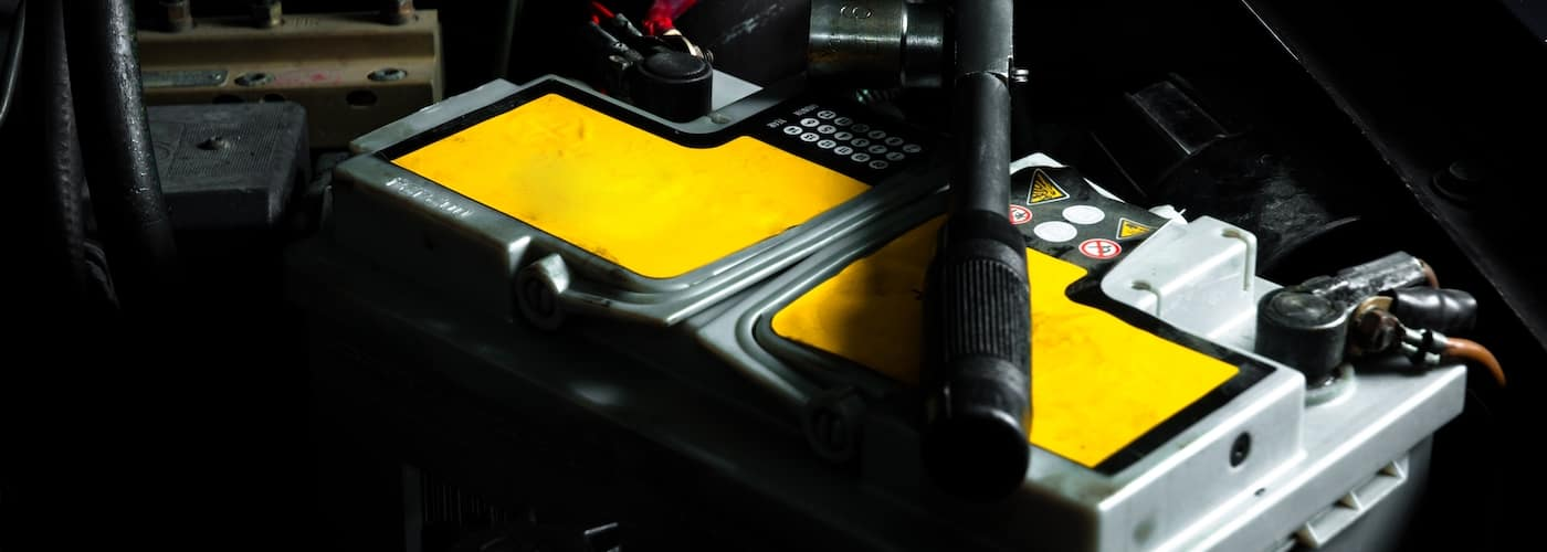 car battery in car close up