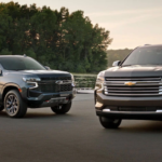 2021 chevy tahoe models parked outside