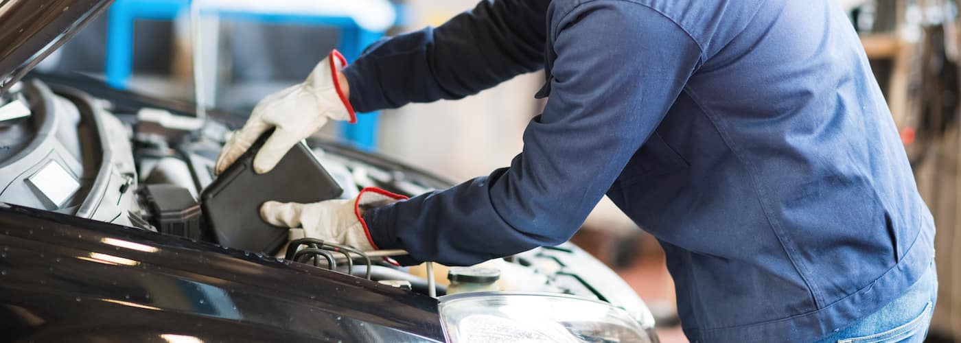 mechanic pouring fresh oil into car