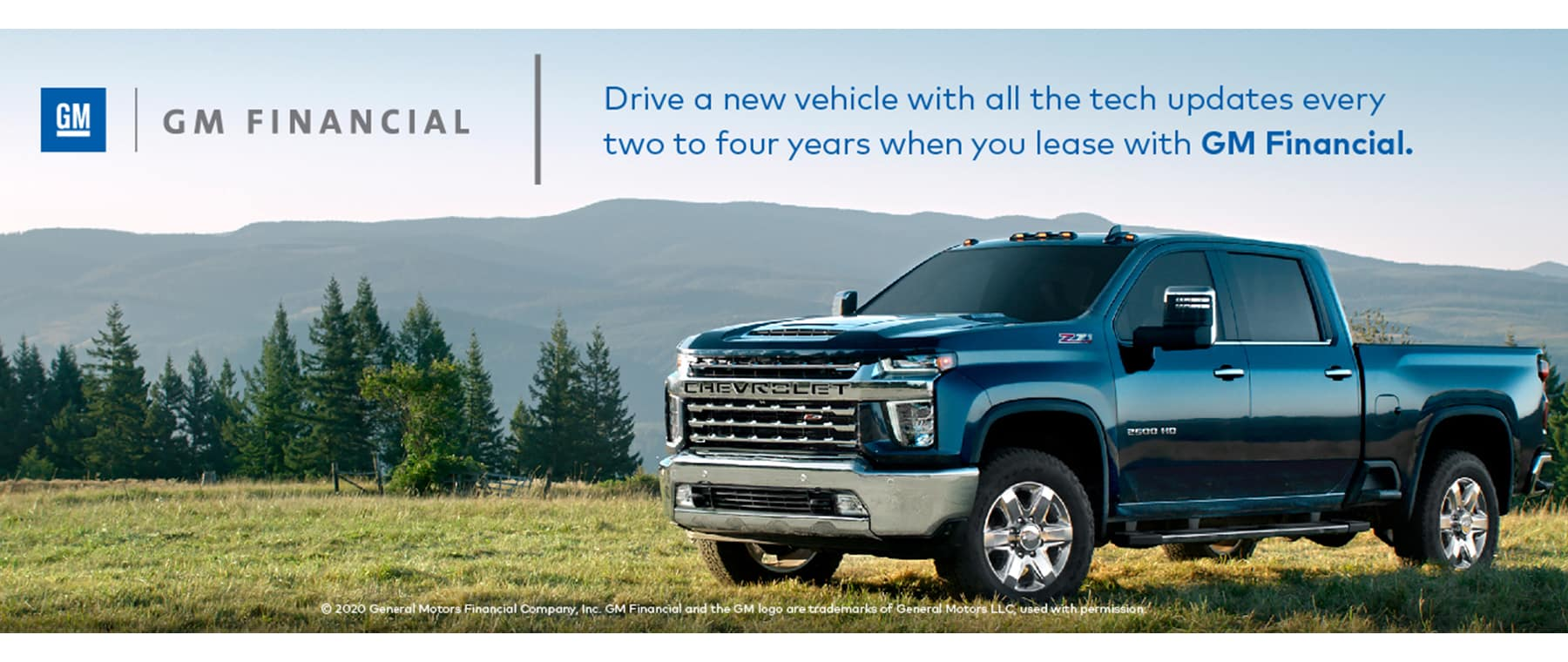 GM Financial, Chevy, 2500, 3500, HD, green grass, blue, chrome, Alberta, Banff, Jasper