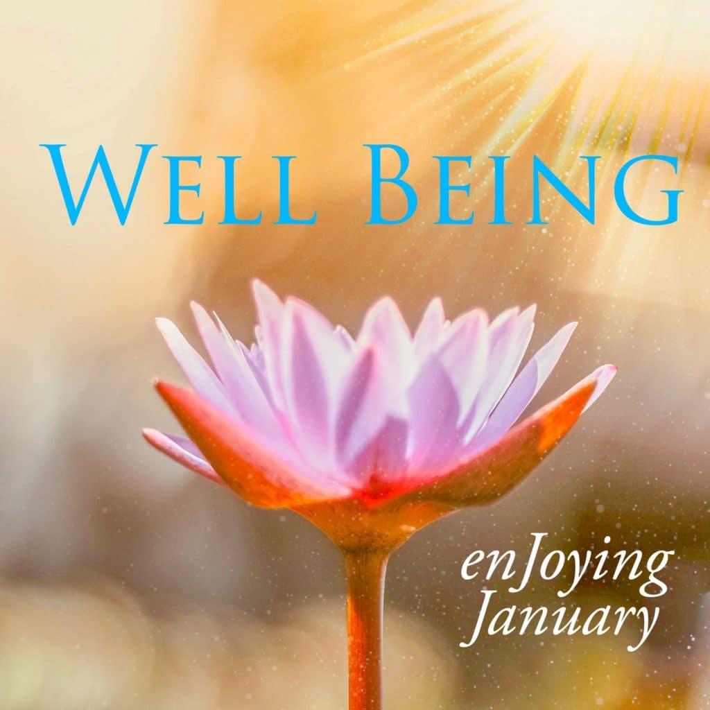 Well Being, Blue, Sun burst, Pink Flower, enjoying January, white text