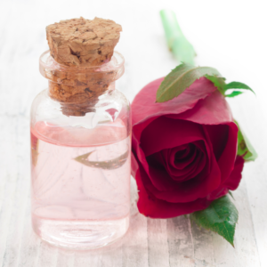 rose, rose water, pink, glass, cork, green, table top