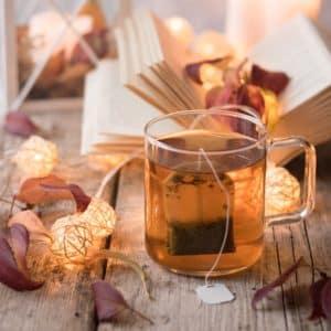Tea, Davids Tea, glass mug, books, fairy lights