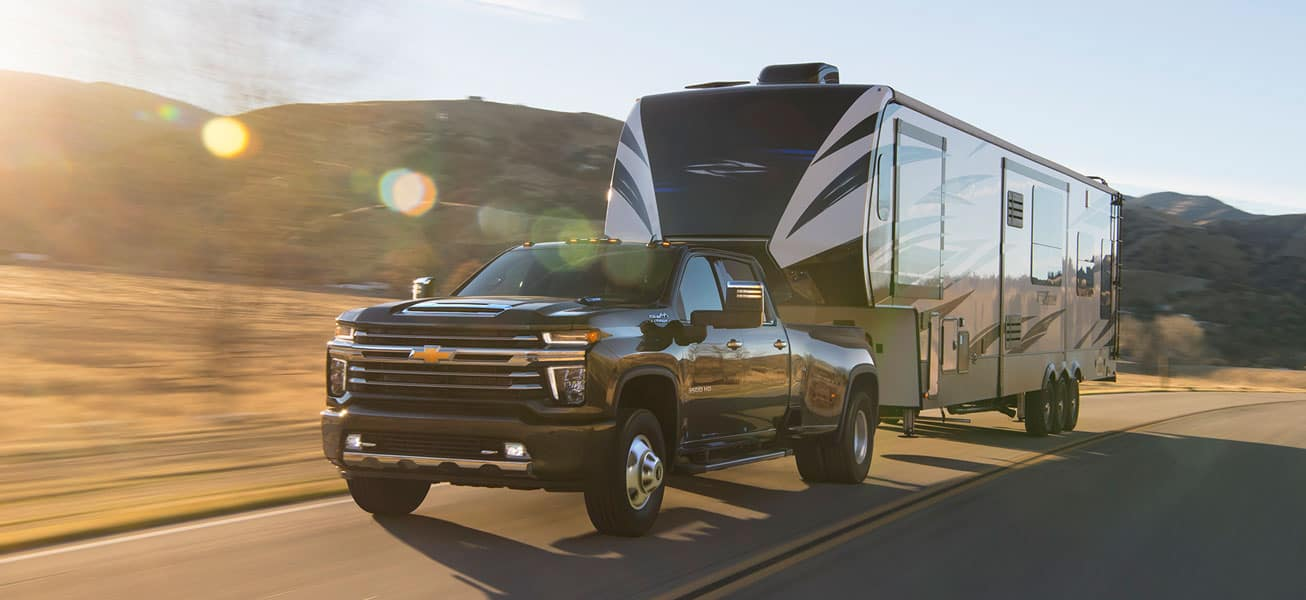 2020 Chevrolet Silverado 3500HD hauling trailer in GTA
