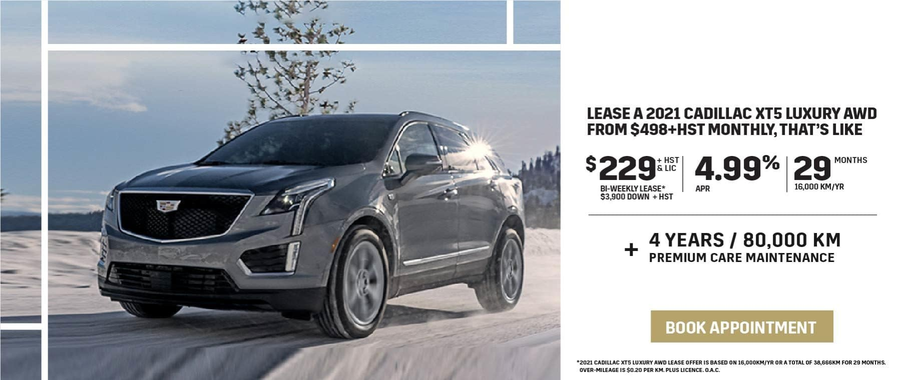 Lease a 2021 Cadillac XT5 Luxury AWD from $498+HST Monthly, that's like $229 Bi-Weekly for 29 Months
