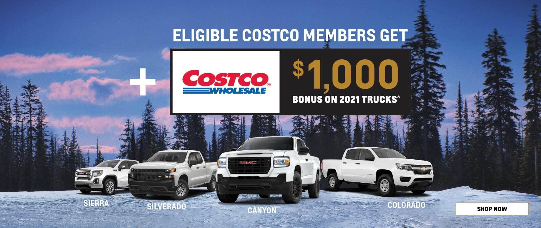 Eligible Costco Members get $1000 Bonus on 2021 Trucks