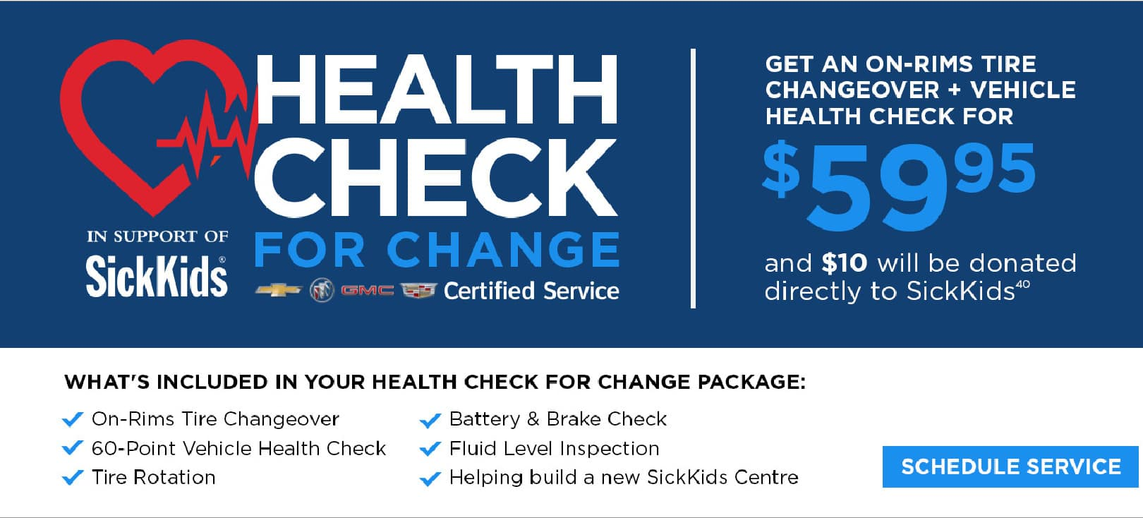 Vehicle Health Check Offer and $59 on-rim tire changoever