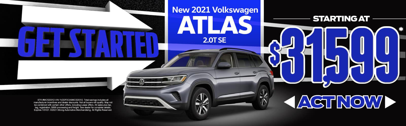 New 2021 VW Atlas - Starting at $31,599 - Act Now