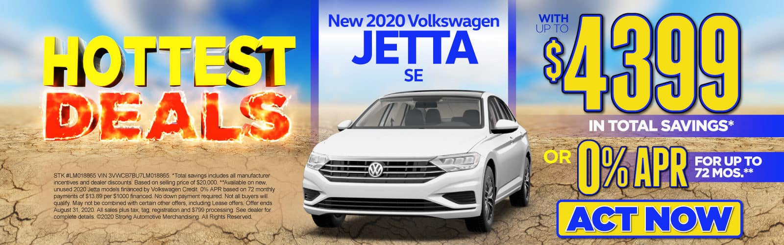 New 2020 VW Jetta - Up to $4399 in total savings - Act Now