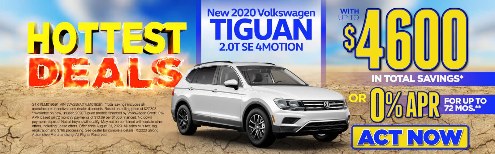 New 2020 VW Tiguan - Up to $4600 in total savings - Act Now