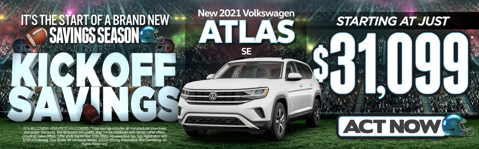 New 2020 Atlas SE - Starting at just $31,099 - Act Now