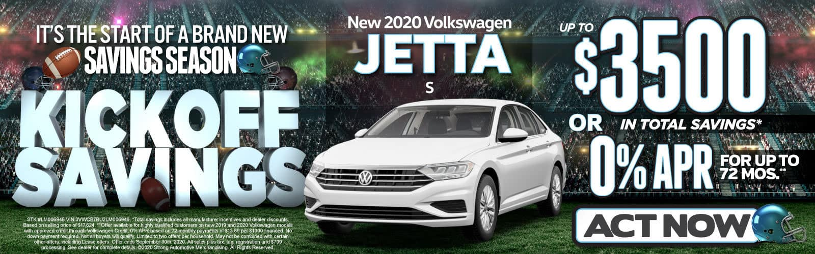 New 2020 VW Jetta - Up to $3500 in total savings - Act Now