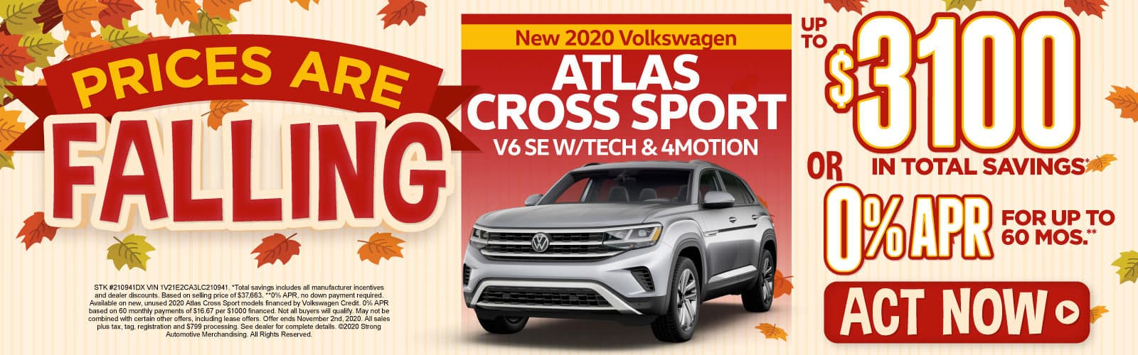 New 2020 Atlas CrossSport - Up to $3100 in total savings - Act Now