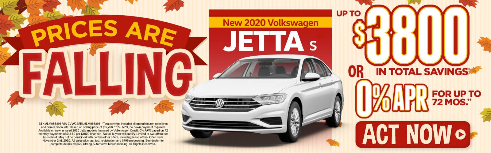 New 2020 VW Jetta - Up to $3800 in total savings - Act Now