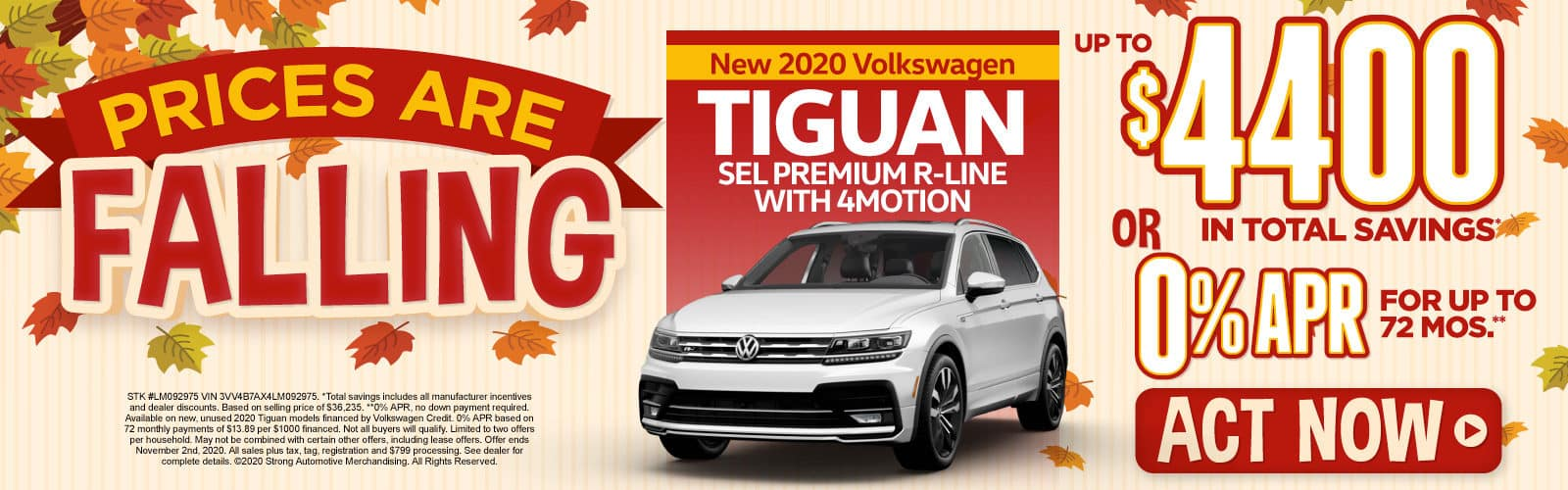 New 2020 VW Tiguan - Up to $4400 in total savings - Act Now