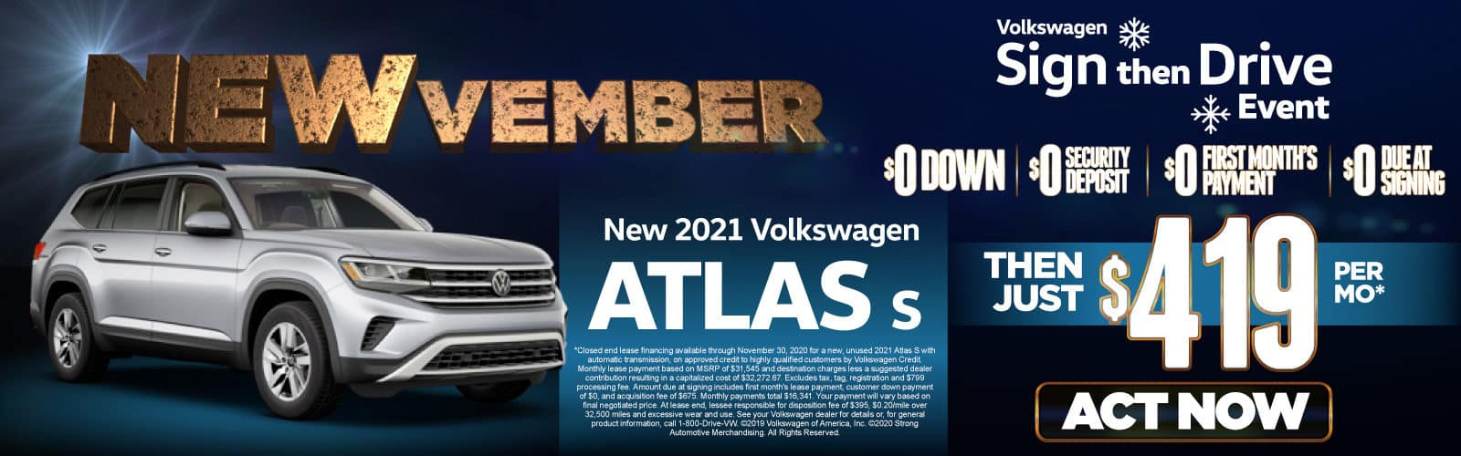 New 2021 VW Atlas - Only $419 a month - Act Now