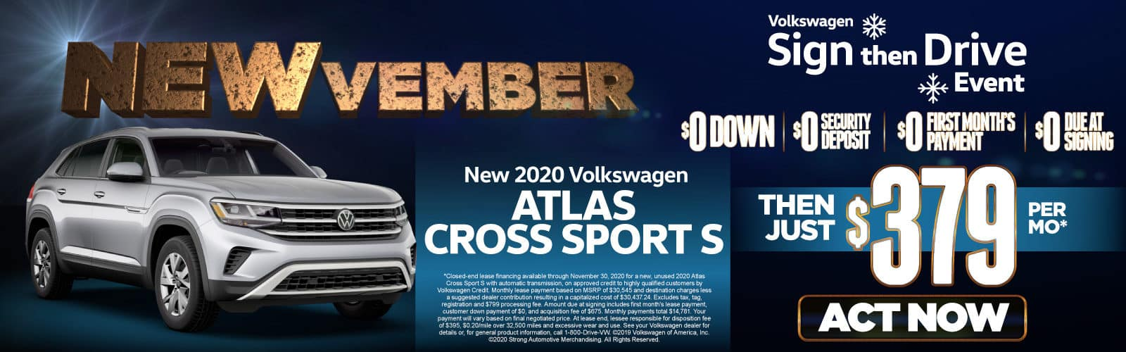New 2020 VW Atlas Cross Sport - Only $379 a month - Act Now