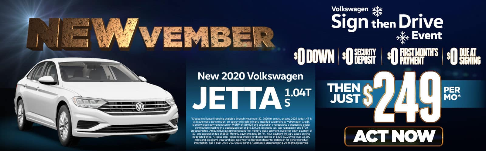 New 2020 VW Jetta - Only $249 a month - Act Now