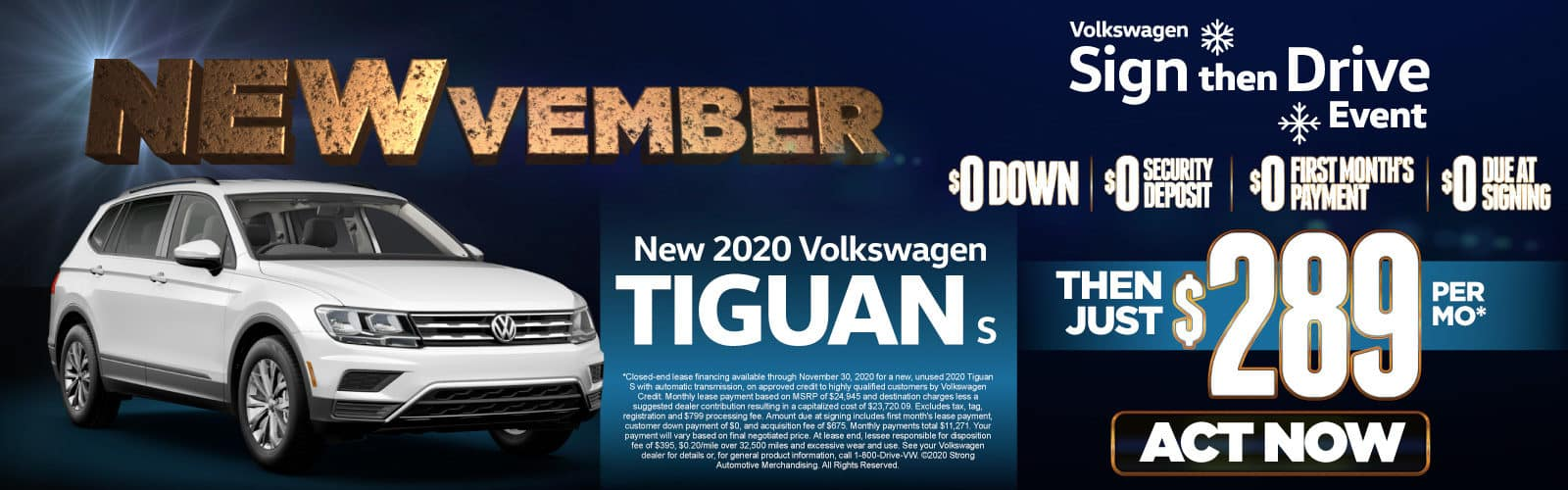New 2020 VW Tiguan - Only $289 a month - Act Now