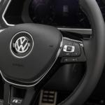 closeup of a VW steering wheel