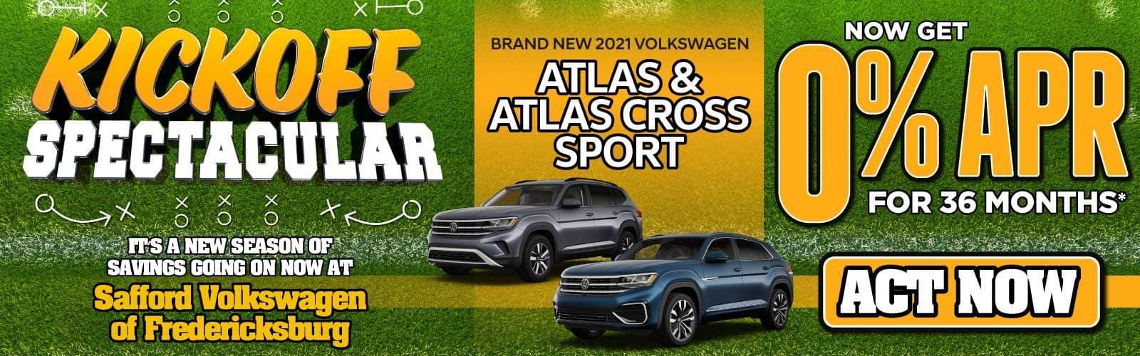 New 2021 Volkswagen Atlas & Atlas Cross Sport 0% APR for 36 Months — ACT NOW