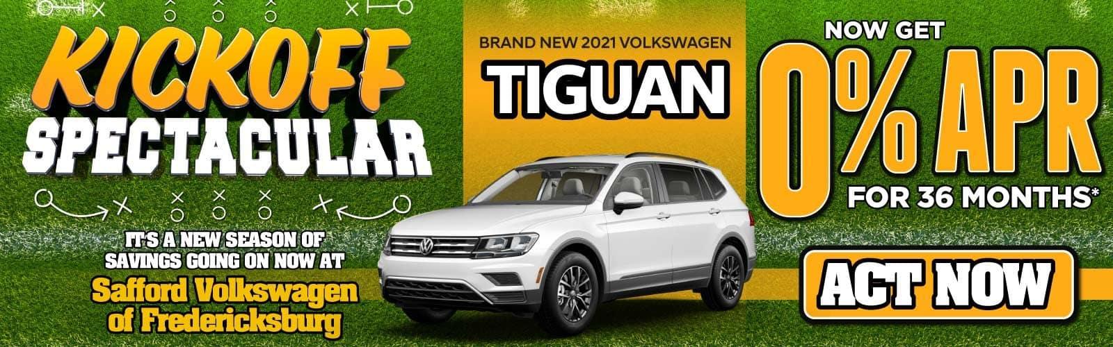 New 2021 Volkswagen Tiguan 0% APR for 36 Months — ACT NOW
