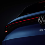 The rear of a blue Volkswagen ID.4 Electric Crossover SUV