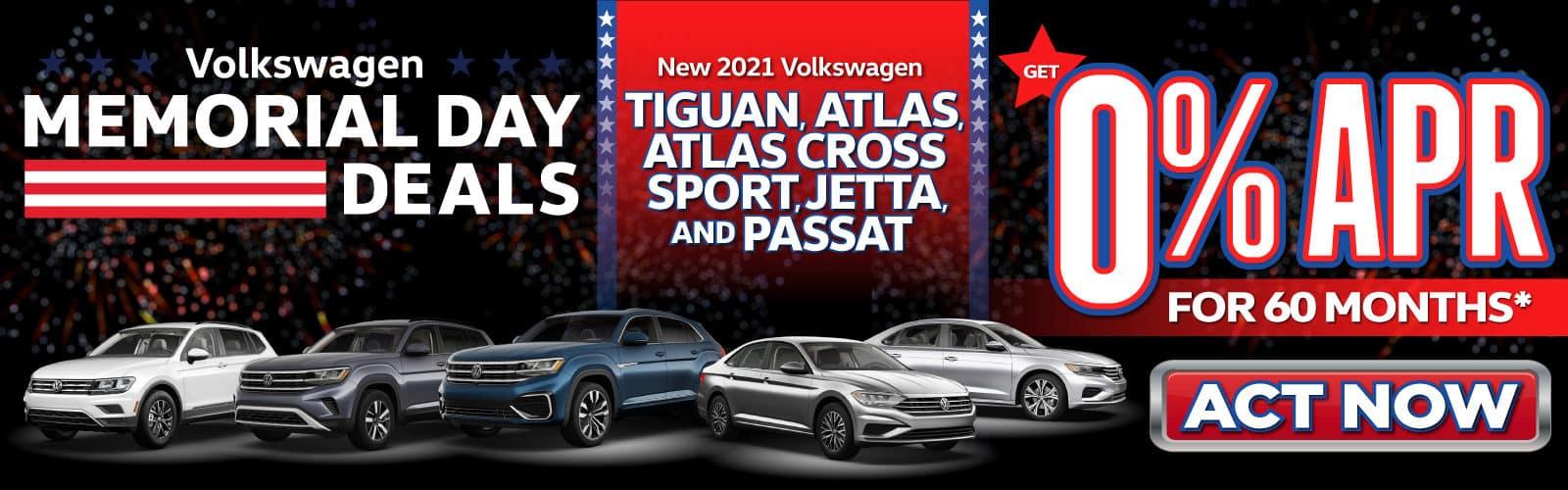 New 2021 VW Tiguan, Atlas, Atlas Cross Sport, Jetta, Passat - 0% APR for 60 months - Act Now