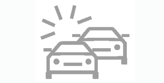 Icon of 2 cars depicting rear end collision