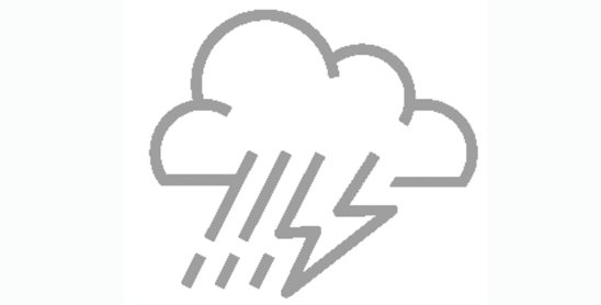 icon of cloud with rain and lightning bolt