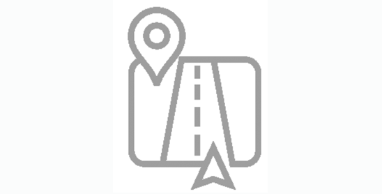 Icon of road with location pin