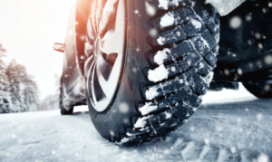 Truck Tire On Winter Road