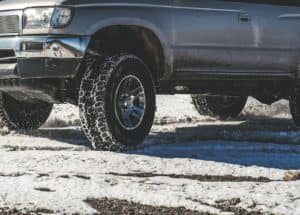 Close up of tires on a winter road